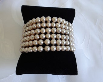 Vintage Faux Pearl Wrap Around Bracelet - Mad Man Style Retro Jewelry - Mid Century Retro Jewelry