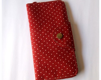 Long Passport Wallet, Boarding Pass Case - Red Polka Dots