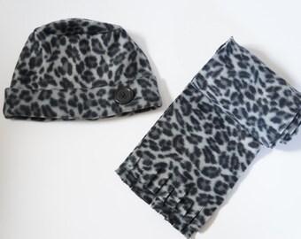 Black and Gray Cheetah Scarf Set