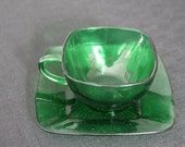 vintage Anchor Hocking Charm mid century forest green glass cup & saucer
