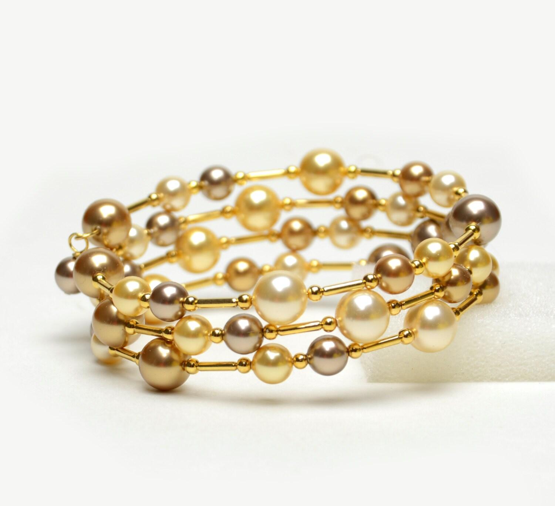 Gold Wrist Bracelet: Large Wrist Memory Wire Bracelet Gold Swarovski Pearl