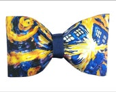 Exploding TARDIS Vincent Van Gogh Inspired Doctor Who Hair Bow or Bow Tie Geeky Fabric Bow