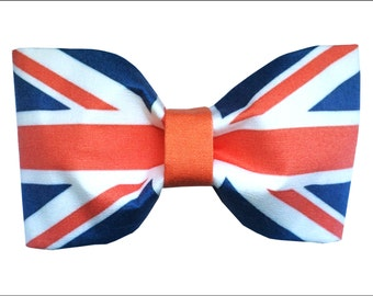 United Kingdom Hair Bow or Bow Tie Union Jack Inspired British Flag Geeky Fabric Bow