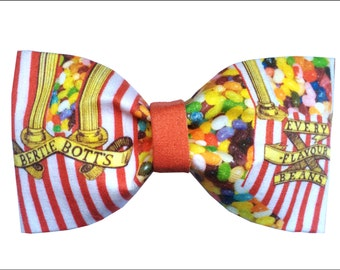 Bertie Botts Every Flavor Beans Inspired Harry Potter Hair Bow or Bow Tie Honeydukes Geeky Fabric Bow