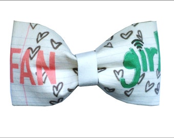 Fangirl Inspired Hair Bow or Bow Tie Doodle Tumblr Geeky Fabric Bow