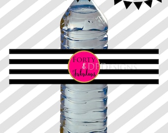 40 and Fabulous Water Bottle Labels - Black White Stripes Hot Pink Gold - 50th Birthday - Wrappers - INSTANT DOWNLOAD