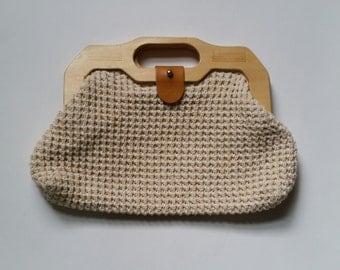 vintage handbag- seventies crochet knit wood handle handbag purse