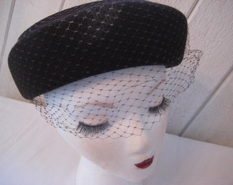 Brown pill box hat, net veiled hat, Church Sunday hat, formal hat, funeral hat, griving hat, Henry Pollack, wool hat, mid century