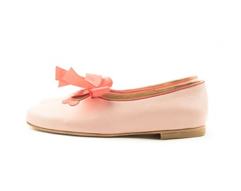 Flora Pink - Leather ballet flats in pink - Handmade by Quiero June - Free Shipping
