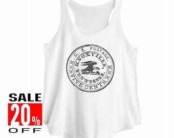 Postal Stamp tank top graphic tank top women tank top teen shirt ladies shirt size S M