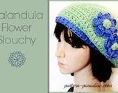 Crochet Pattern Slouchy Tam Hat, Calendula Flower adult, PDF 12-102 INSTANT DOWNLOAD