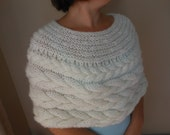 Cable Knitted Shawl Capelet Wedding Shrug Poncho Neck Warmer  Cream/Ivory