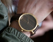 Custom Engraved Watch, Walnut Wood Gold Watch, Brown Leather Strap - CSTM-HELM-WG
