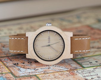 Personalized Watch, Mens Watch, Wood Watch For Men, Geunine Leather Strap - KNTY-L