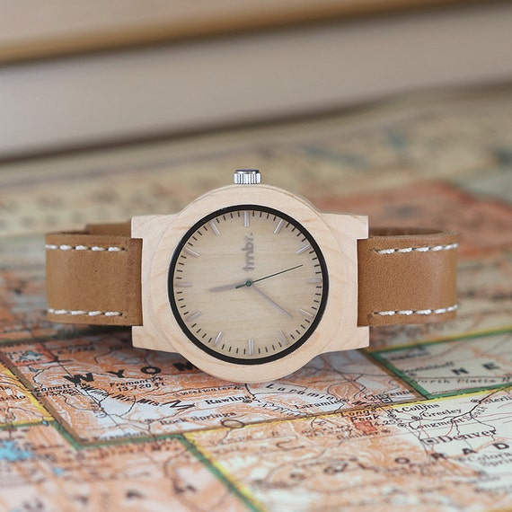 Personalized Watch Mens Wood Watch For Men Geunine Leather