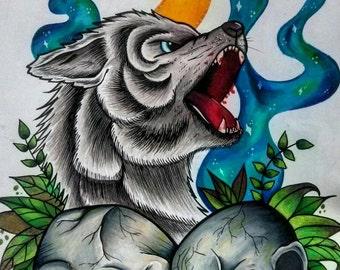 A4 Neo Trad Wofl and Skulls tattoo flash art print illustration