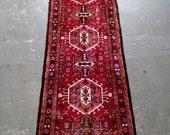 Persian Rug - 1980s Hand-Knotted Karaja Persian Rug Runner (3468)