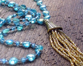 Blue Hearts Tassel Necklace // long necklace // layering necklace // Valentines Day // Bohemian Jewelry