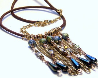 Peacock Drops Leather Necklace Boho Luxe jewelry,Boho Jewelry