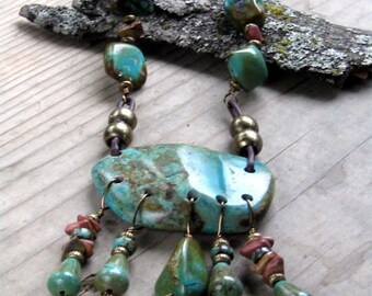 Turquoise Necklace Statement Necklace Bohemian Jewelry