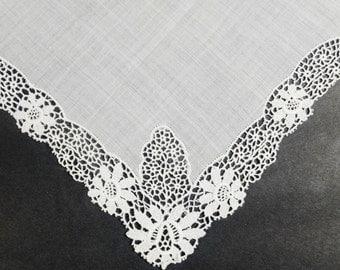 Battenburg Lace Handkerchief - Wedding Handkerchief - Something Old - Brides Hankie - Battenberg Lace
