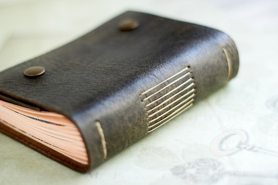 Aged Olive Leather Journal, A6, Pocket Leather Notebook, Travel Book, Blank Cream Paper