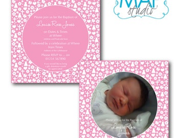Christening/Baptism Invitation - PINK