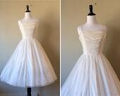 REDUCED vintage 1950s dress / 50s wedding dress / white chiffon ballerina dress / extra small 24 w