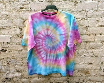 Hippie Pastel Rainbow Tie Dye Shirt Trippy Psychedelic Unisex Tshirt ALL SIZES AVAILABLE Festival Fashion