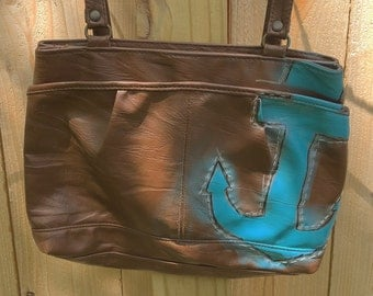Upcycled Brown & Blue Anchor Shoulder Handbag
