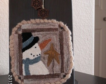 primitive punchneedle snowman with Vandani pearl cotton threads