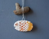 FISH Decor / Driftwood Art / Fish on Thread / Ceramic Fish / small Fish / Nautical Beach House Decor / Blue / Happiness / Sea