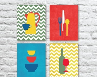 ON SALE Kitchen Art Prints with Coffee, Wine, Utensils and Bowls with Chevrons, Kitchen Prints Set of (4) - Multi-Sizes // Modern Kitchen -