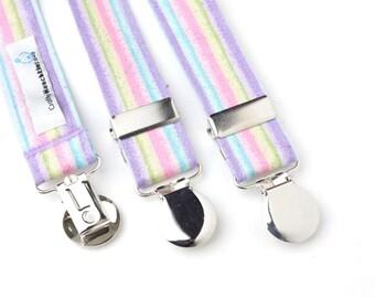 Multi-Color Striped Adjustable Suspenders