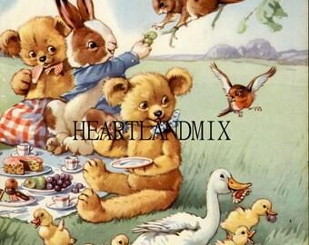 Vintage Teddy Bear Picnic Print to Frame Downloadable, Printable Digital Wall Art Image Instant Download Nursery art