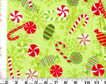 1 Yard, Christmas Candies on Green