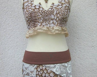 Animal print tribal costume, festival top and skirt