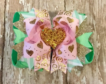 Mint Hearts Boutique Hairbow