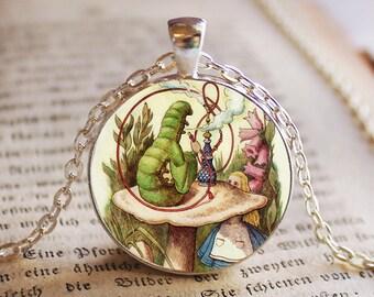 Alice in wonderland Caterpillar Pendant/Necklace Jewelry, Necklace Jewelry, Alice Photo Jewelry Glass Pendant Gift