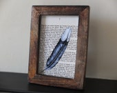To Kill A Mockingbird Framed art print Harper Lee feather on vintage book page dark wood frame