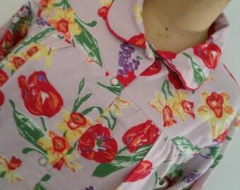 1980's Model's Coat 100% Flannel Cotton Floral Short Robe NOS Boho Floral Duster Urban Hipster Flannel Bathrobe Size M/L