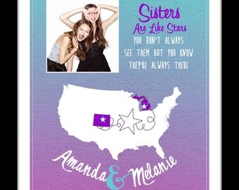 Birthday gift for sister, long distance sister gift, custom going away gift, sister quote print, sisters forever print, custom map art