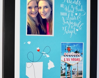 Long Distance Best Friend Gift, BFF Gifts Moving Away Gift For Friend Friendship Quote Custom Las Vegas Nevada Map NV HI State Map Christmas