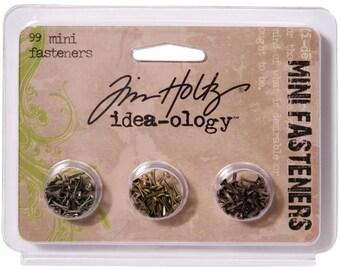 Idea-Ology Screw Top Mini Fasteners Brads 99/pk Nickel Brass Copper by Tim Holtz