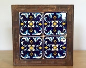 Gorgeous Tile and Carved Wood Tray/Trivet