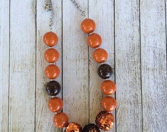 Brown and Orange Fall Sequin chunky beaded necklace