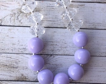 Lavender and Clear chunky beaded  necklace