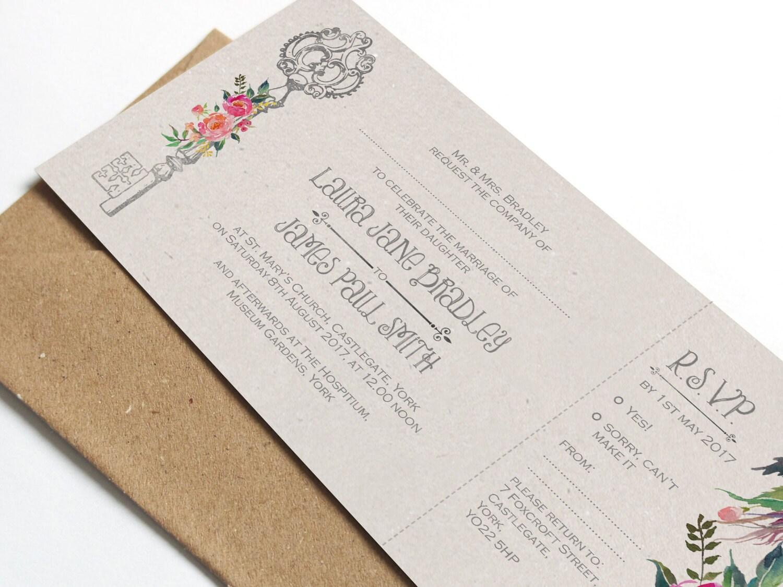 Key Themed Wedding Invitations: Vintage Key Wedding Invitation SAMPLE