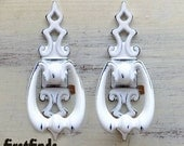 16 AVAIL - 2 White Ring Pulls with Shabby Chic Back Plates Cupboard Kitchen Knobs Exotic Vintage Pulls Cabinet Painted Door DETAILS BELOW