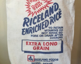 Riceland Tote Bag made with Re-Purposed Rice Bag / Shoulder Bag